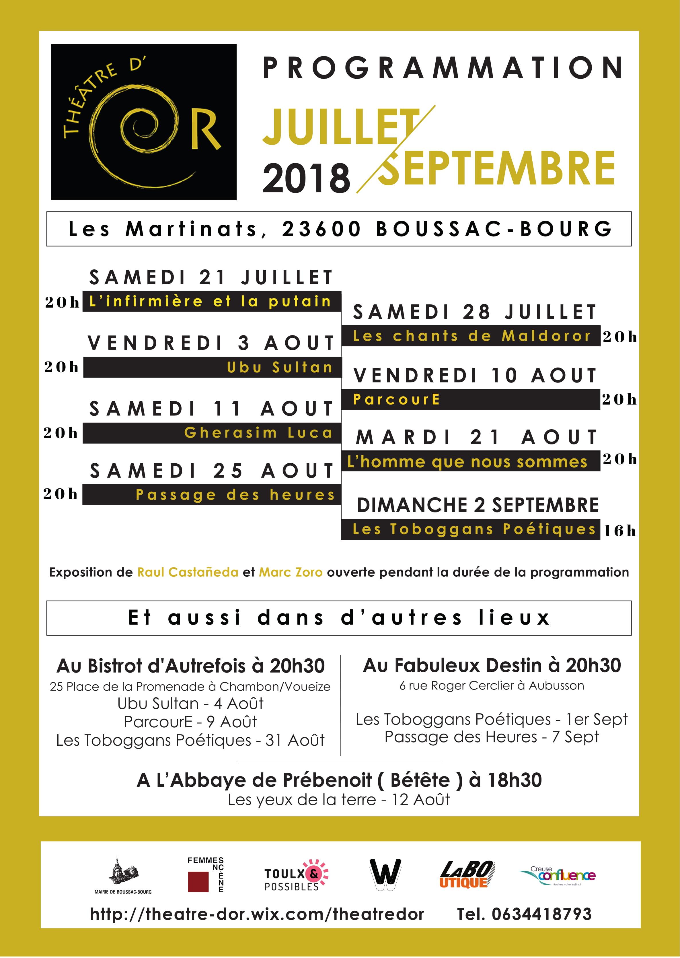 affiche programmation juillet septembre 2018 Théâtre d'or